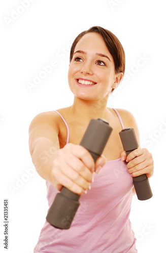 Girl using dumbbell to exercise