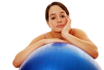 Woman bored with exercise