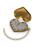 Gold heart-clock with chain