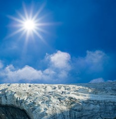 glacier under a sparkle sun