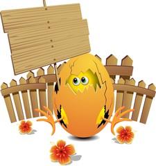 Uovo Pasqua con Pulcino-Easter Egg with chick-Cartoon