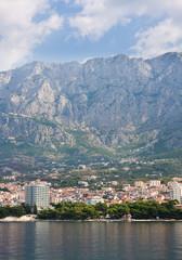 View of the resort Makarska and Mount Biokovo. Croatia