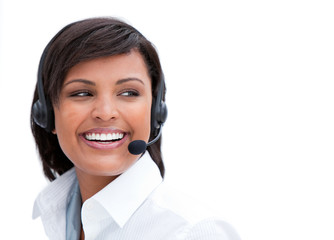Portrait of a laughing businesswoman with headset on