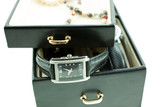 black with silver female watches in a jewelery case poster