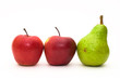 two red apples and one green pear