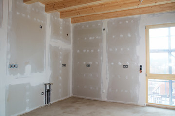 kitchen in a building fabric with gypsum plaster boards