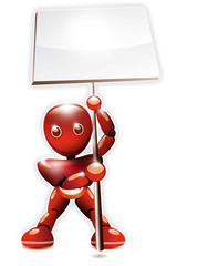 Robot brandissant un panneau à deux mains