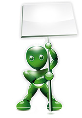 Robot vert tenant une pancarte blanche à deux mains