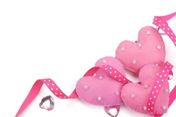 cotton fabric hearts with ribbon