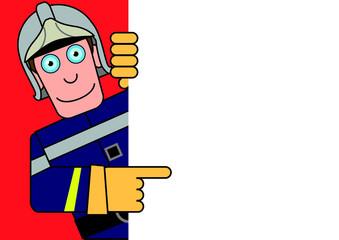 Personnage Panneau Pompier