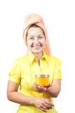 Smiling women with toiletries poster
