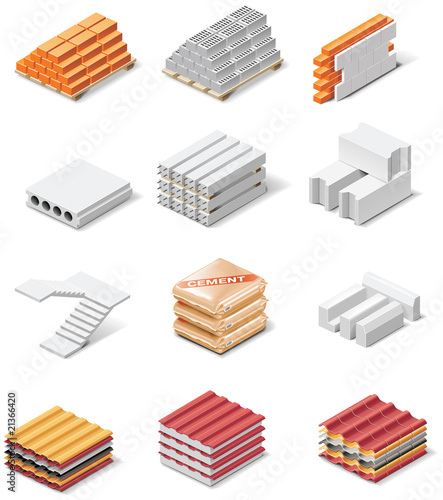 Vector building products icons. Part 1. Concrete elements