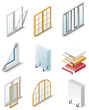 Vector building products icons. Part 4. Windows