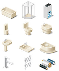 Vector building products icons. Part 5. sanitary engineering