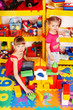 Child with puzzle, block and construction set in play room.