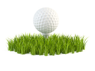 Golfball on grass