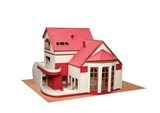 An isolated cottage mock up (scale model) on a white background poster