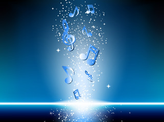 Blue background with music notes and stars