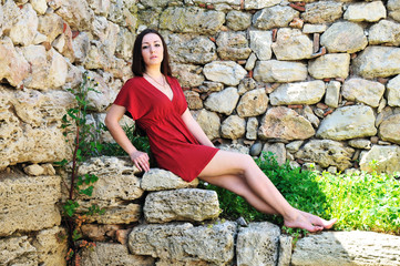 brunette in ancient town