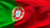 Creased Portugal flag in wind with seams and wrinkle poster