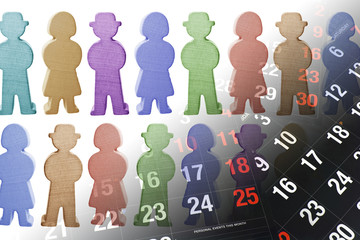 Wooden Figures and Calendar Pages