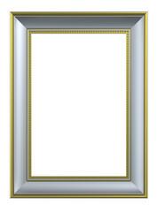 Silver-gold rectangular frame isolated on white background.