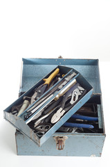 metal toolbox with tools