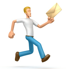 casual man runs with a letter