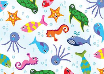 vector sea animals background