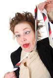 Depressed businesswoman strangle suicide self tie. poster