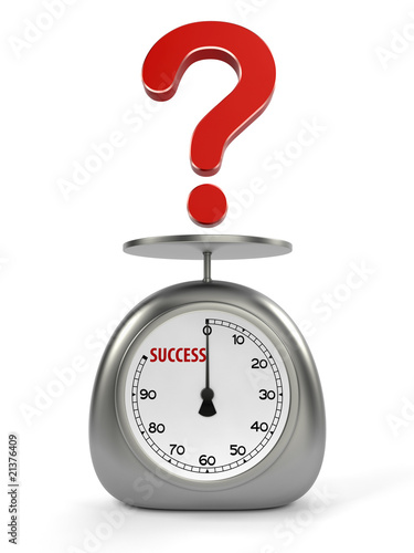 Red sign of question on kitchen scales on white background
