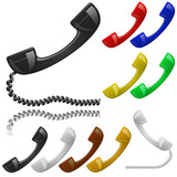 Colour phone receiver set. Contact us icon.