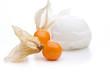 Zitroneneis und oranges Obst