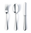 canvas print picture - Fork spoon and knife isolated on white background