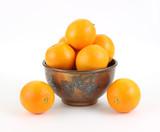 Naval oranges in vintage metal bowl poster