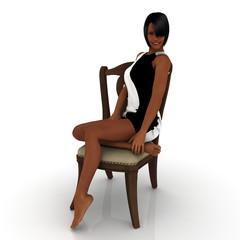 Auf einem Stuhl sitzende Frau