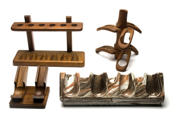 collection of smoking pipe racks