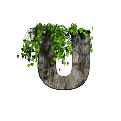 green ivy on 3d stone letter