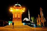 Famous fount in Sarajevo - Night scene poster