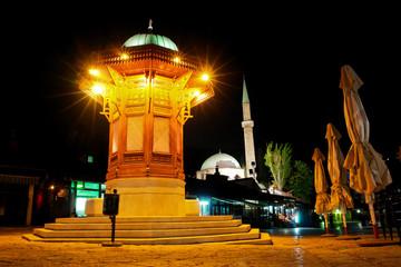 Famous fount in Sarajevo - Night scene
