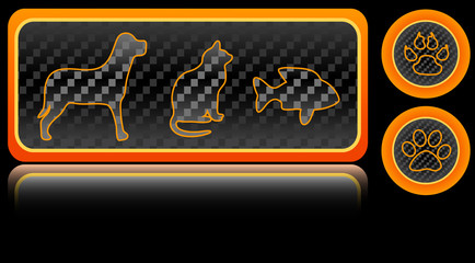 Pets simbols neon buttons set, vector illustration