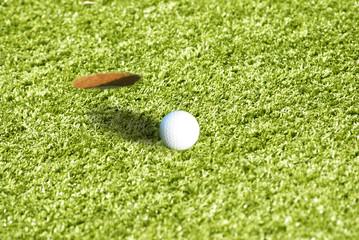 Golf ball close-up on the green grass