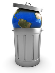 earth in trash can