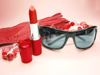 women accessories red gloves sunglasses and lipstick
