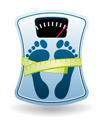 Blue bathroom scale diet concept icon