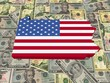 Pennsylvania 3d Map flag on American dollars illustration