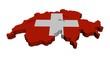 Switzerland map flag 3d render on white illustration