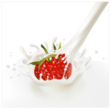 Red ripe  strawberry falling into the milky splash. poster