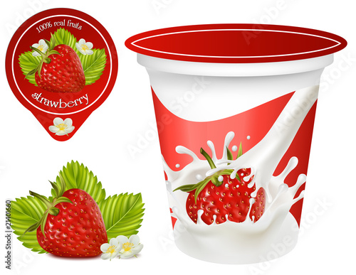 Background for design of packing yoghurt with strawberry.