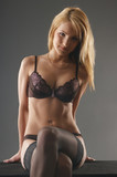Young and sexy blond wearing erotic lingerie poster